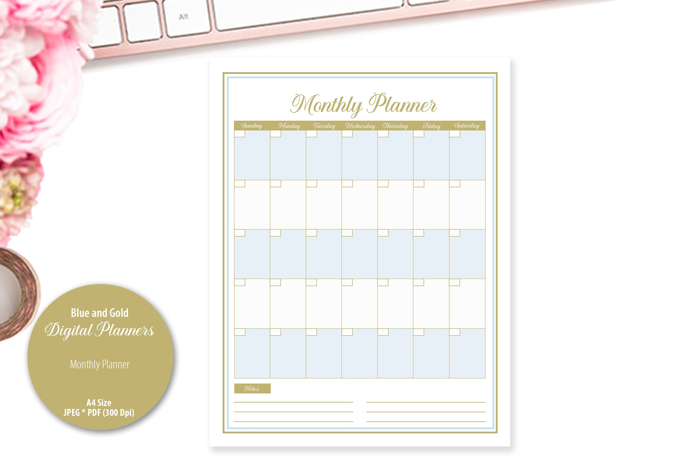 Blue and Gold Digital Planner example image 4