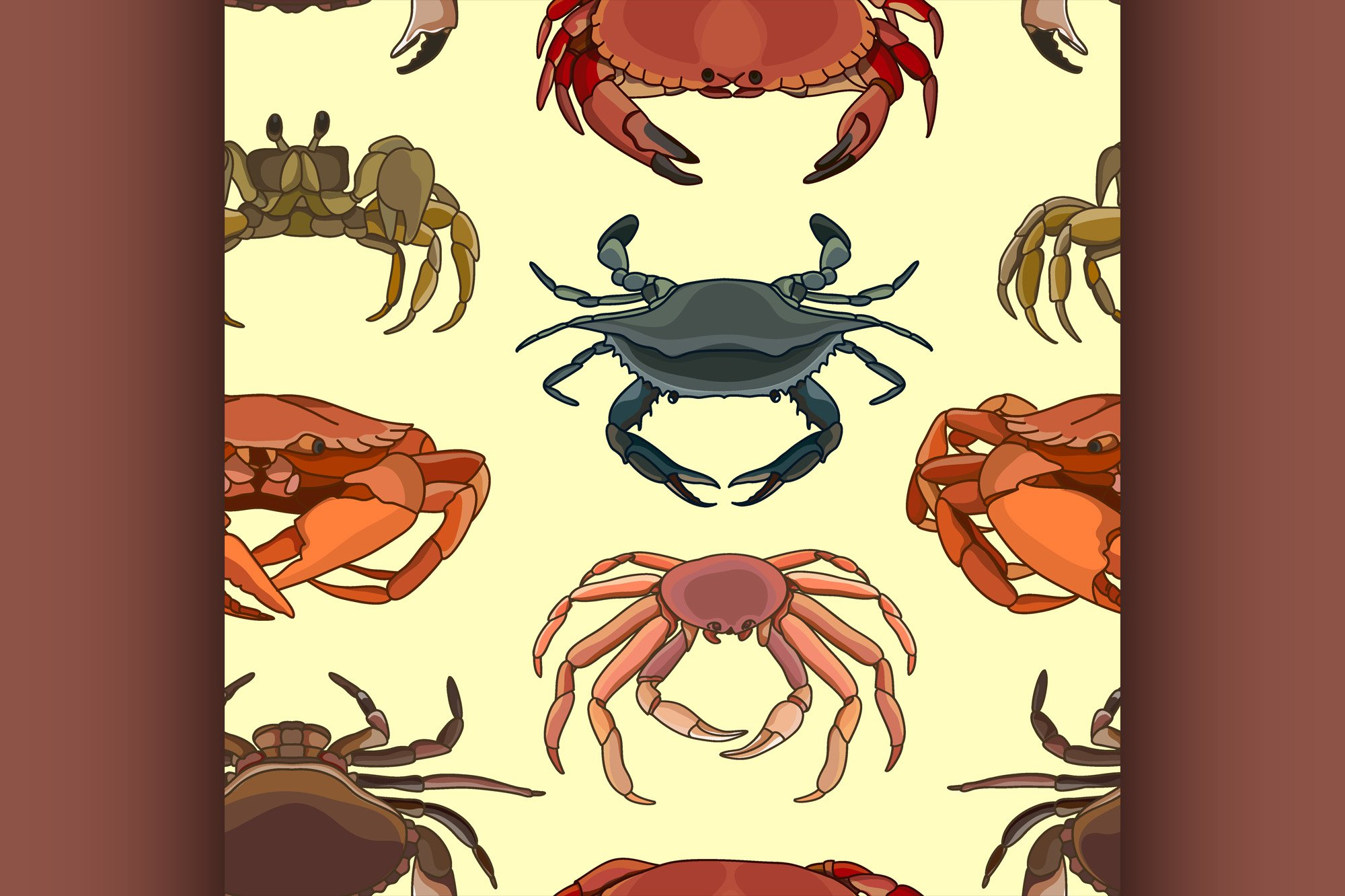 Pattern of vector crab icons example image 1
