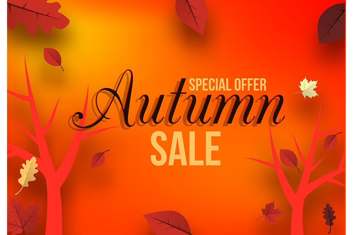 Banner for autumn sale in frame from leaves. Vector illustra example image 1
