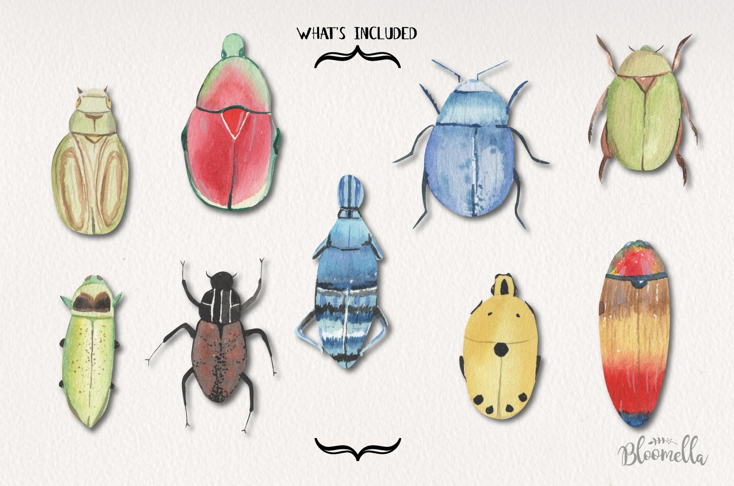 Fun Beetle Watercolor Elements Bug Icons Pretty example image 3