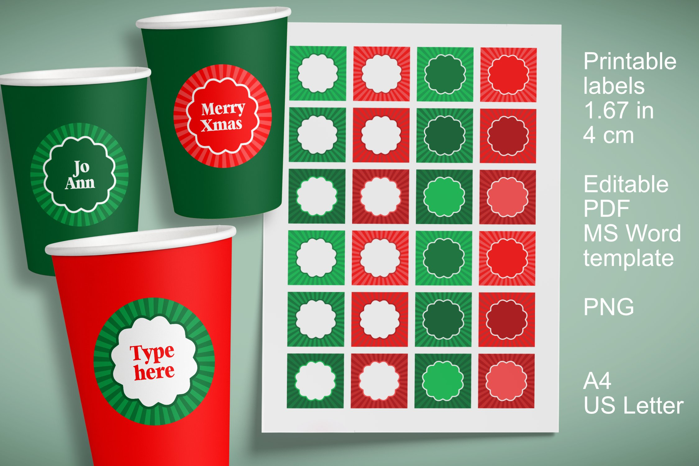 Small Christmas Labels 1.6 in, EU 4 cm for A4 and US Letter example image 2