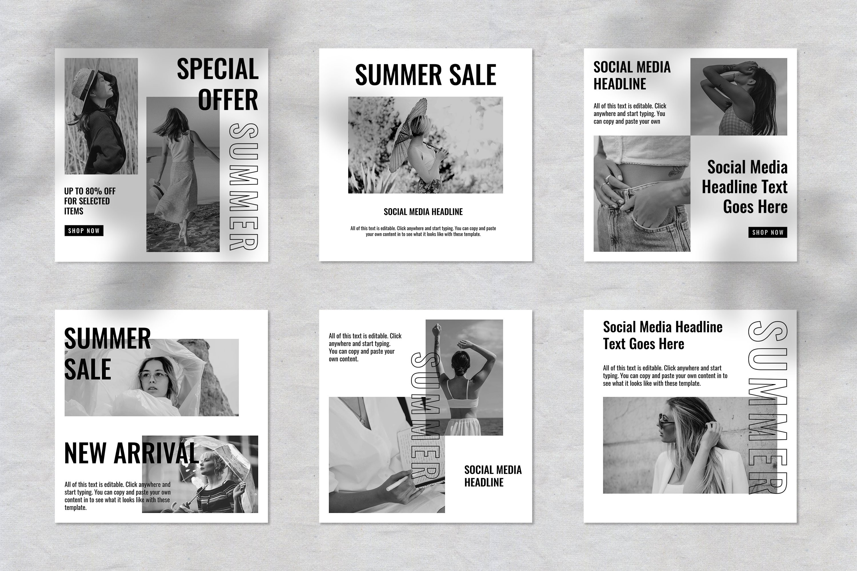 Black and White Fashion Instagram Social Media Template example image 2