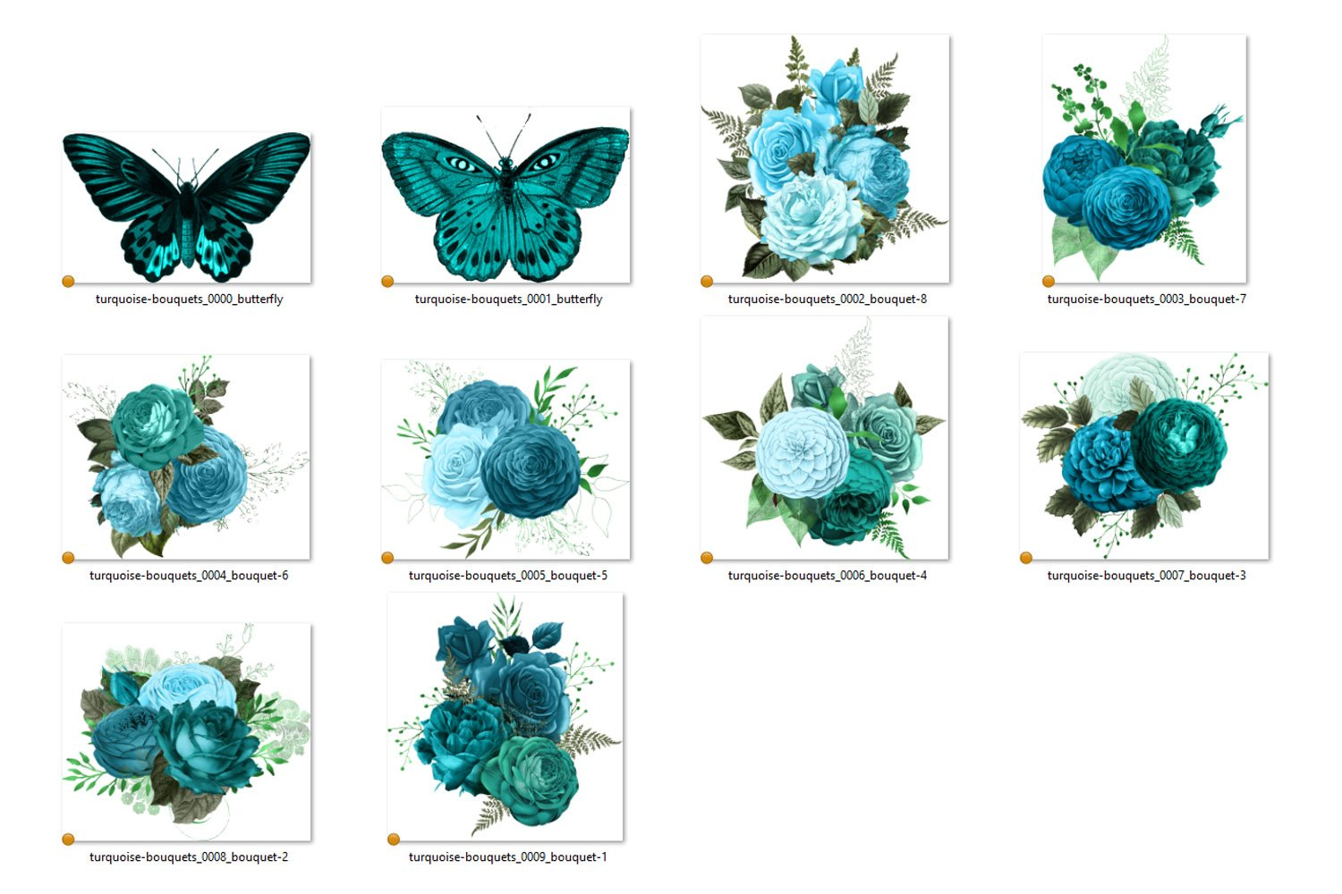 Turquoise Bouquets Clipart example image 3