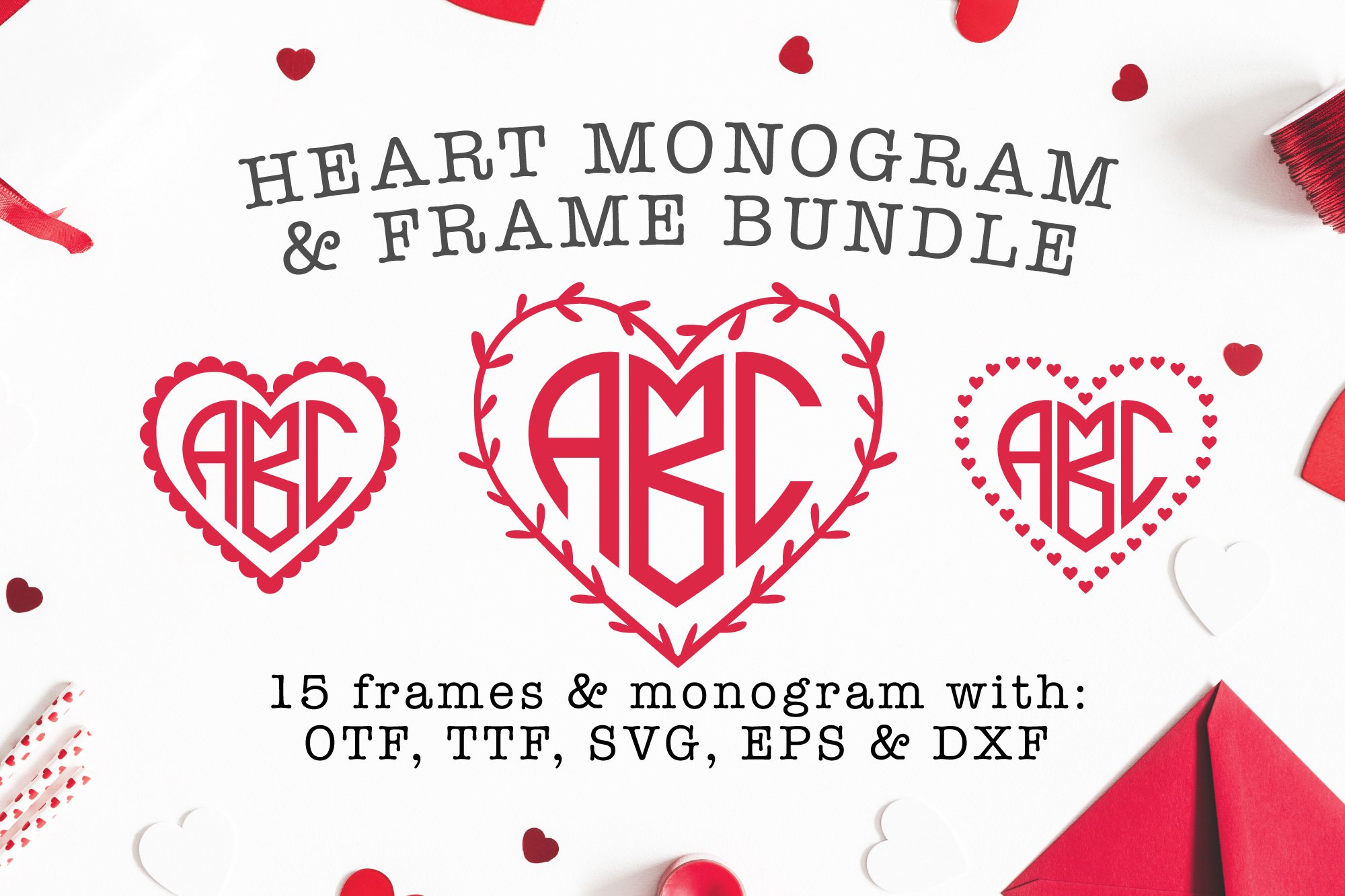 Heart Shaped Monogram with 15 Frames Bonus example image 1