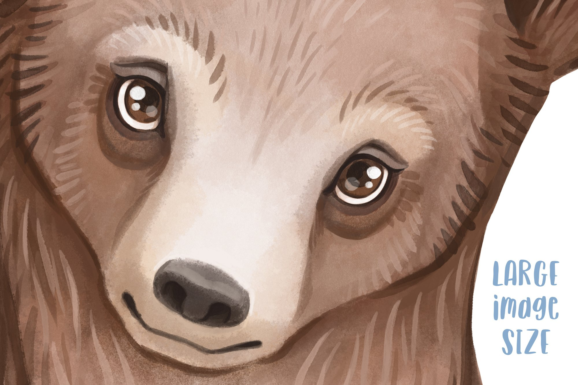 Grizzly bear watercolor illustration Woodland nursery decor example image 3