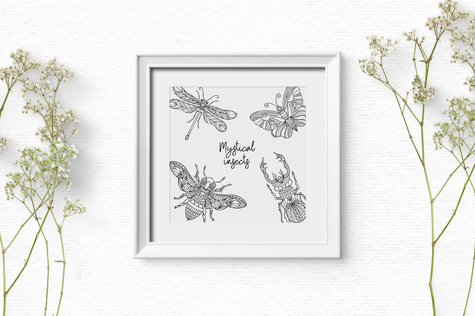 Hand drawn digital stamps with insects | Boho clipart example image 4