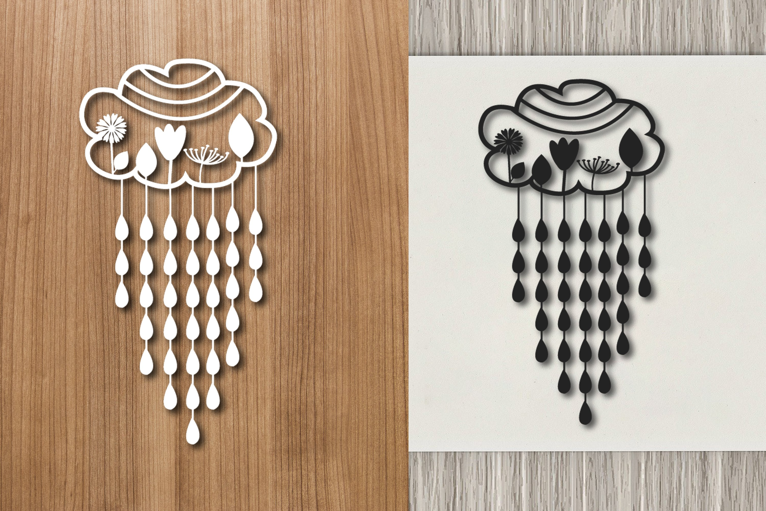 Cloud and RaIn Paper Template Design example image 1