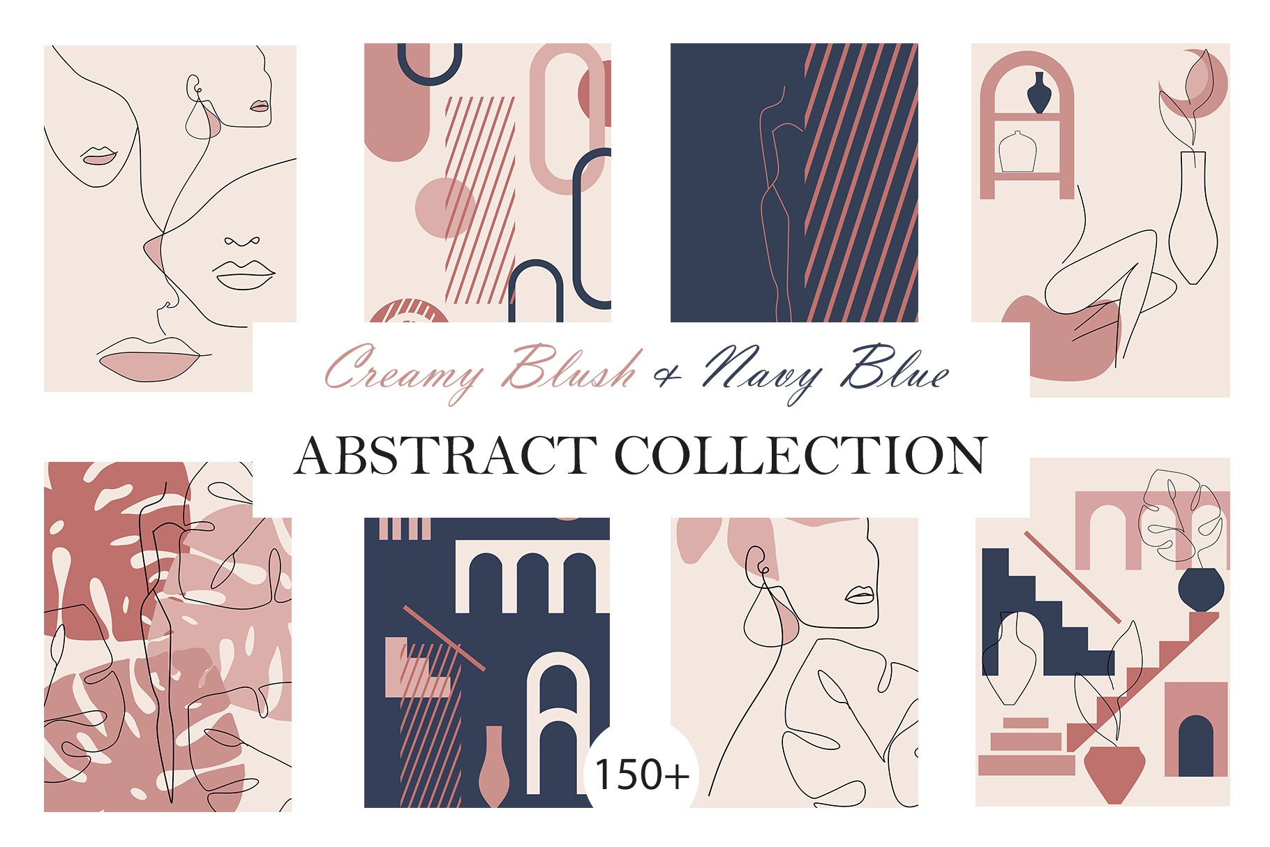 Abstract Collection CREAMY BlUSH & NAVY BLUE bundle prints example image 1
