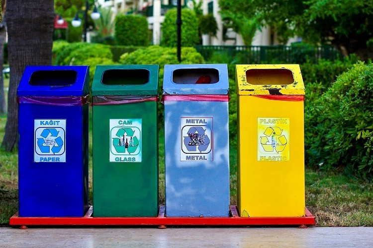 Different colored recycle garbage trash bins cans example image 1