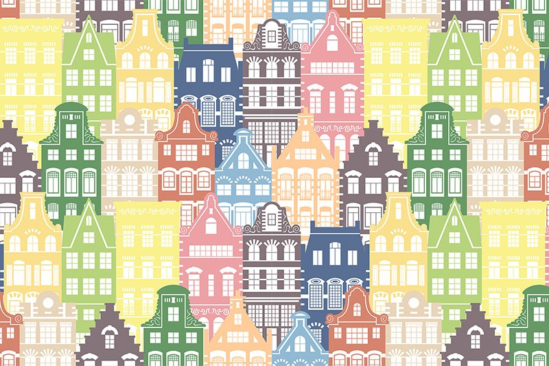 Seamless pattern of Holland houses example image 2