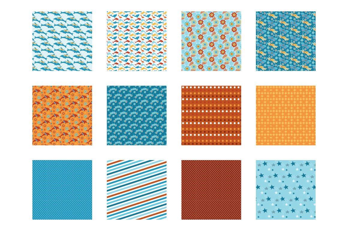 Floral Dolphins Pattern collection, vector ai, eps and example image 2