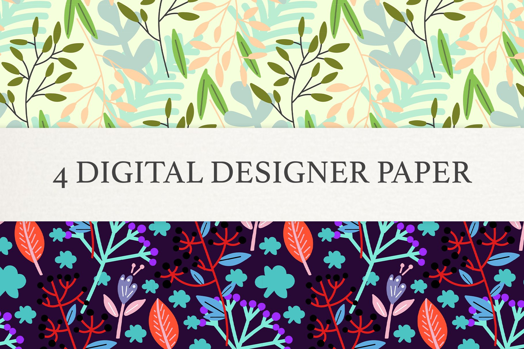 Floral Digital Paper, Scrapbook Papers, Seamless Patterns example image 2