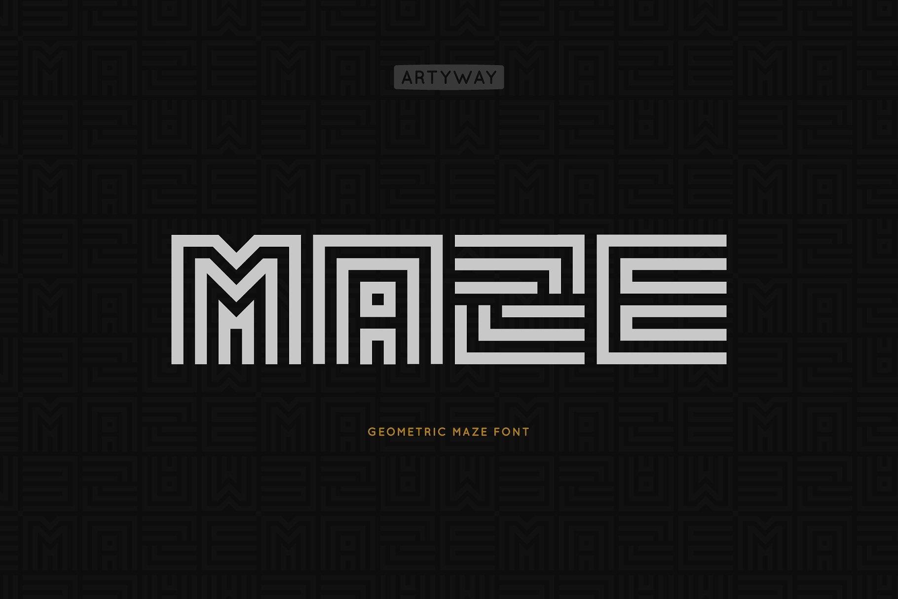 Download Geometric Maze Font 824248 Display Font Bundles