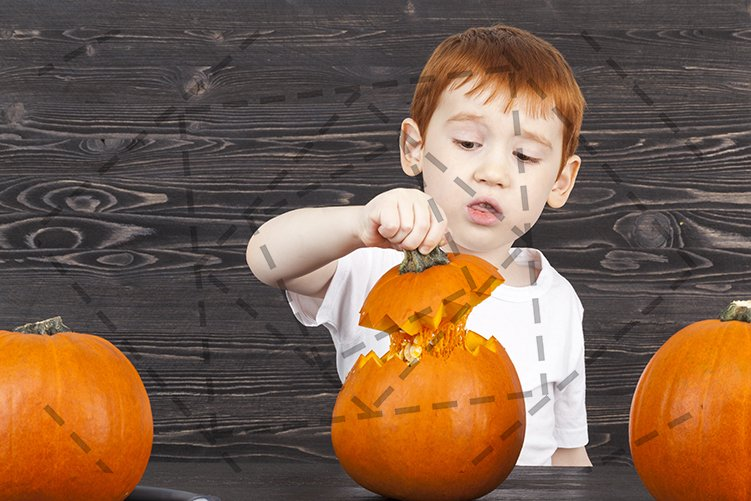 The red-haired boy hides a pumpkin example image 1