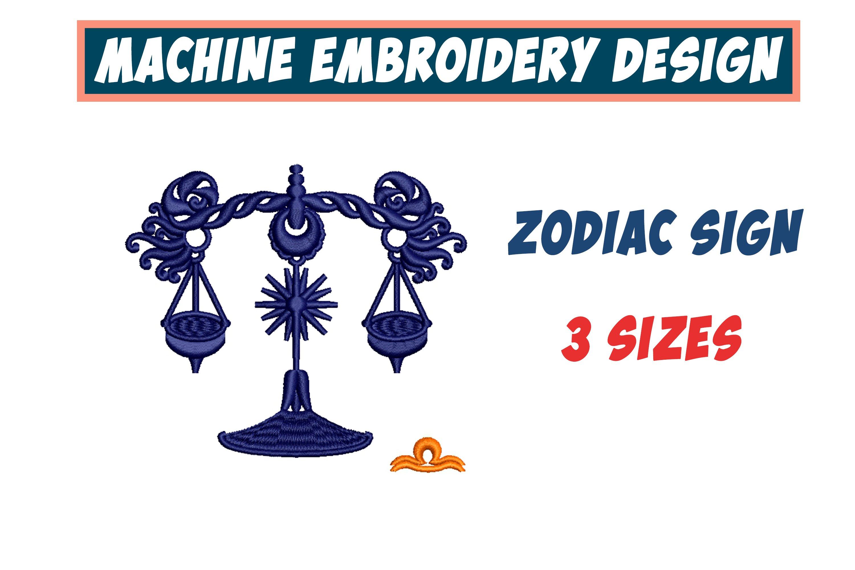 Libra Zodiac Sign - machine embroidery design, satin s example image 1
