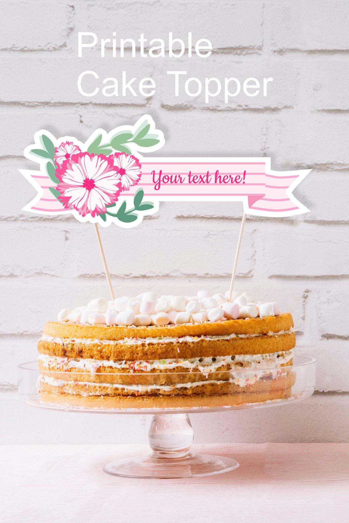 Printable Pink Baby Shower Flower Ribbon Banner Cake Topper example image 3