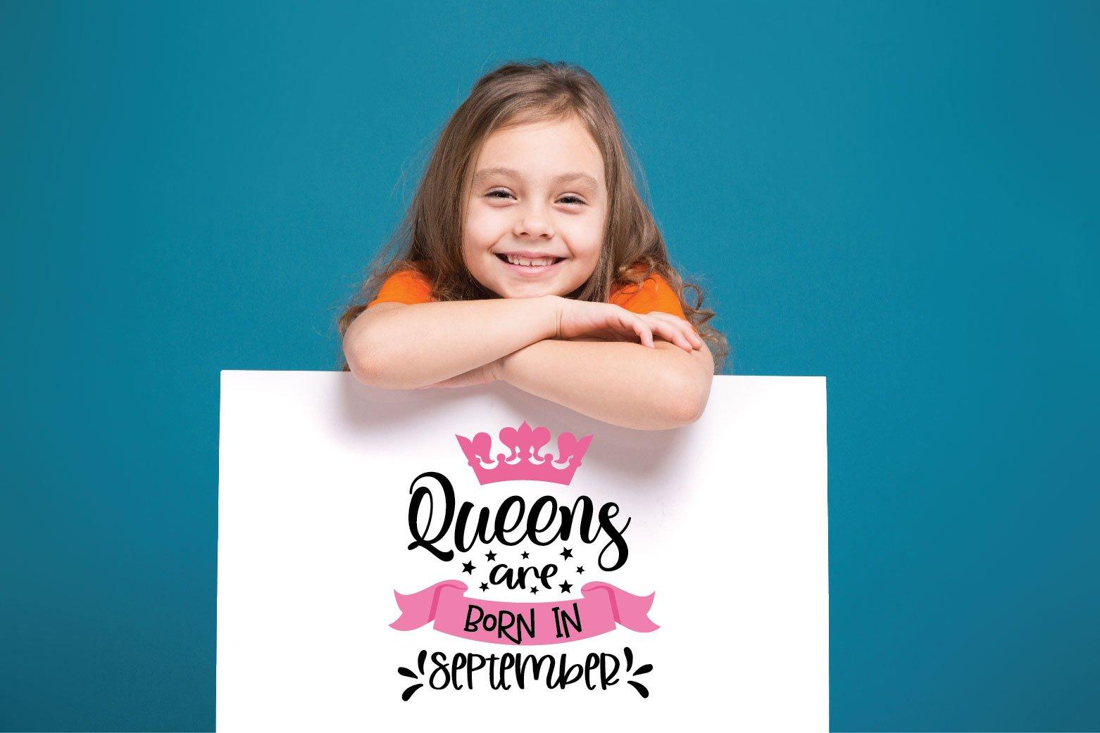 Queens Are Born In.. SVG Bundle 12 Designs example image 5