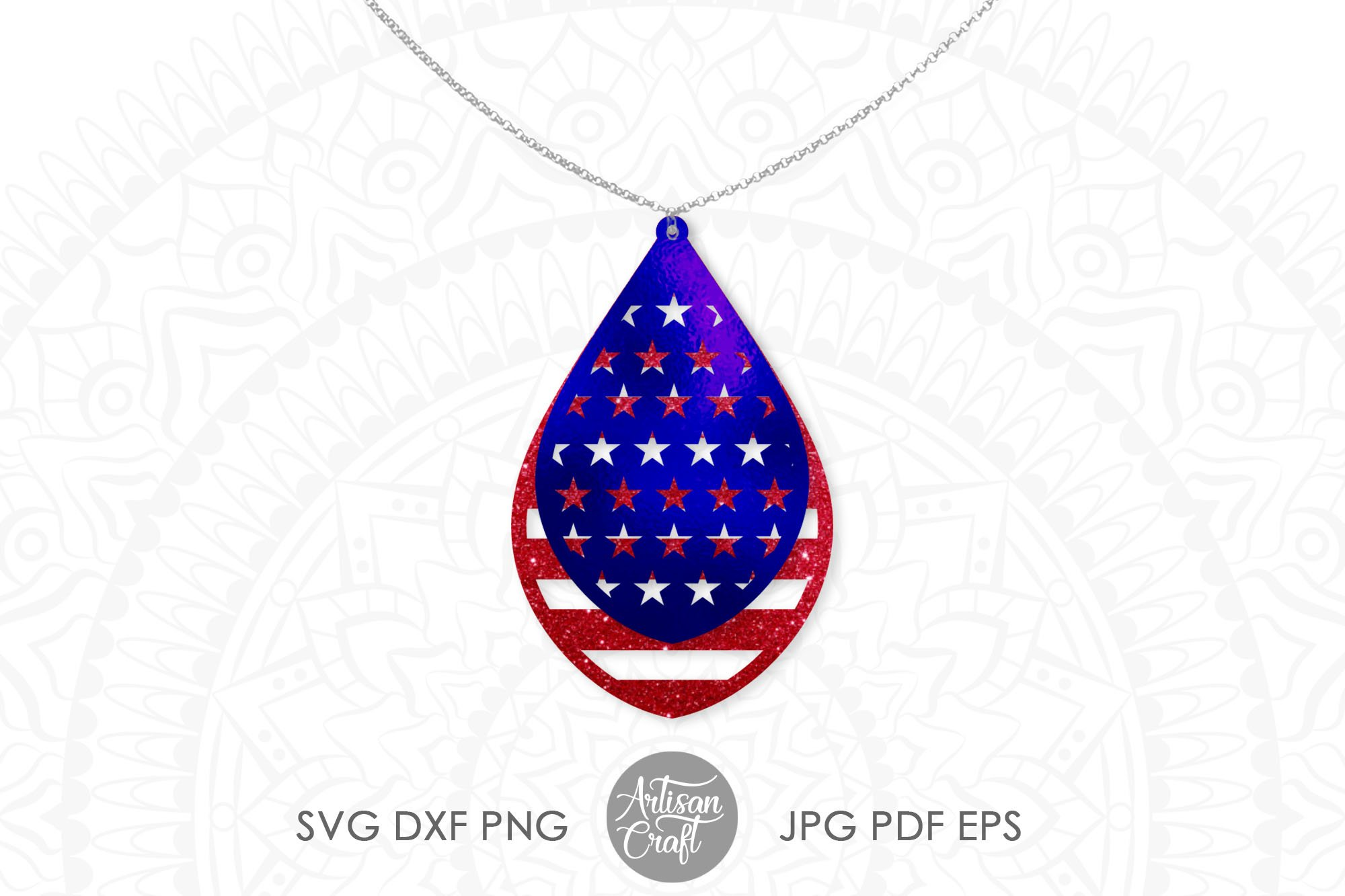 American flag earrings, Fourth of July earrings, svg example image 2