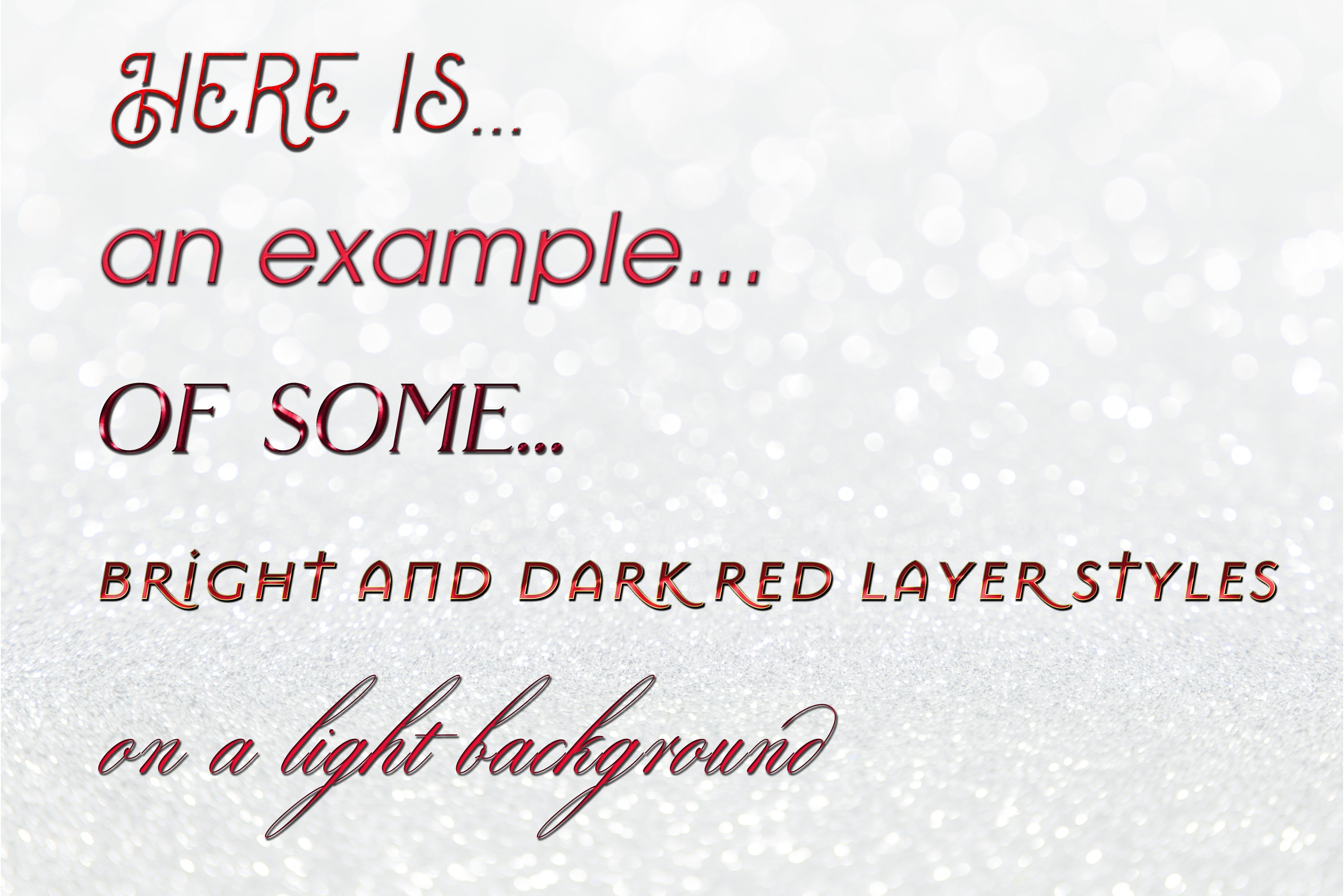 20 Bright and Dark Red Layer Styles for Photoshop example image 2