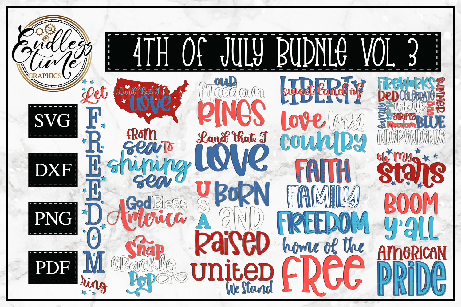 4th of July Bundle Volume 3 | A Red White & Blue SVG Bundle example image 1