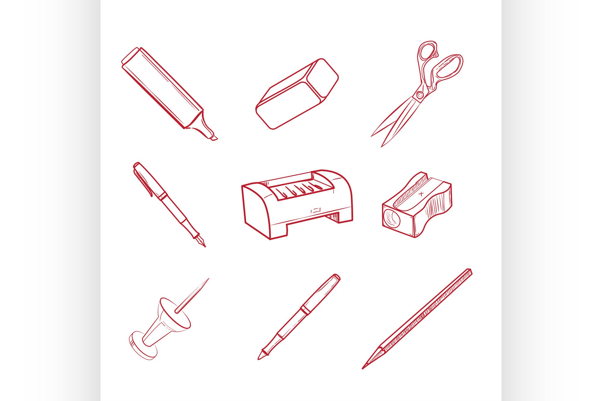 Hand-drawn Office equipment icons example image 1