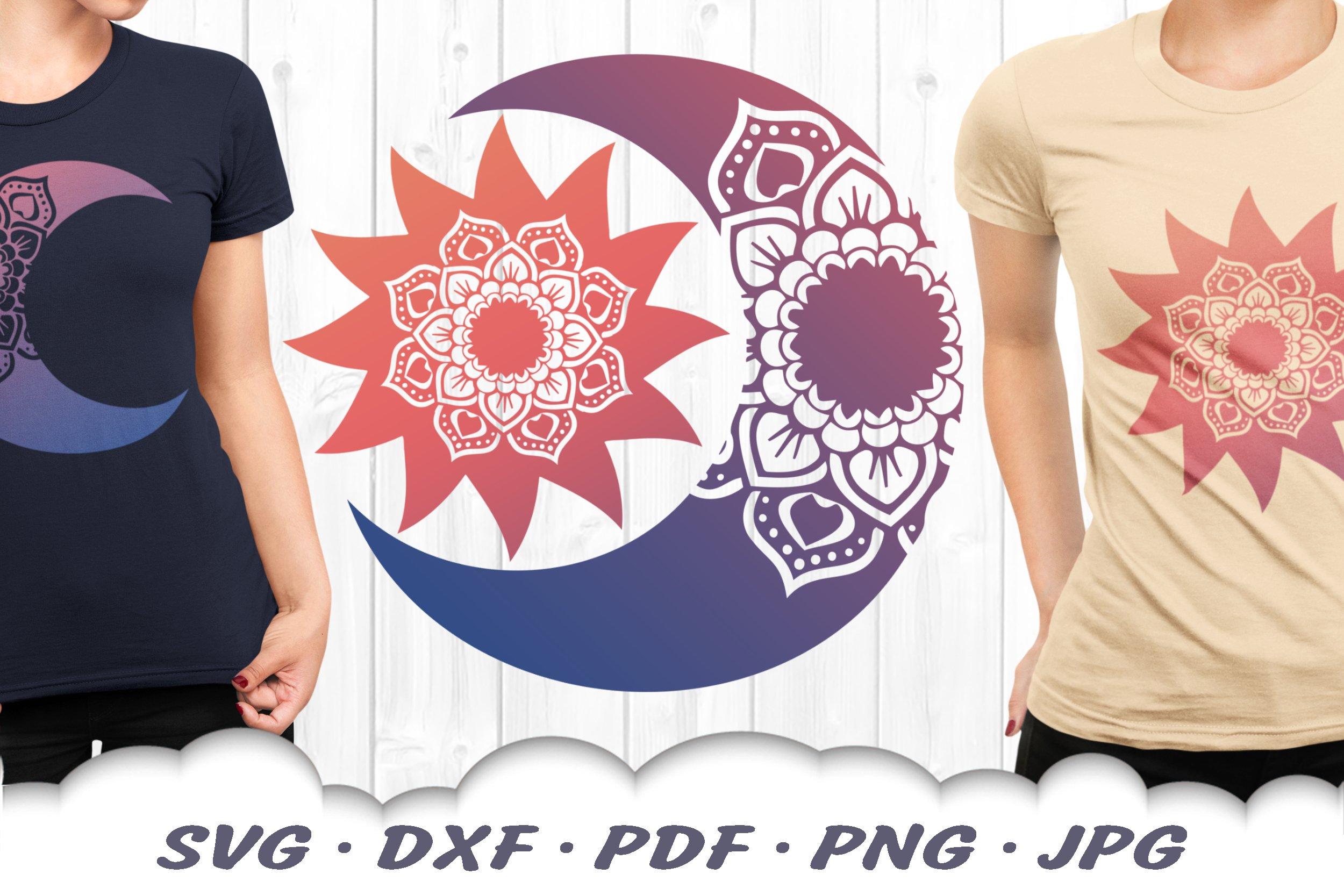 Sun & Moon Celestial Mandala SVG Bundle DXF Cut Files example image 1