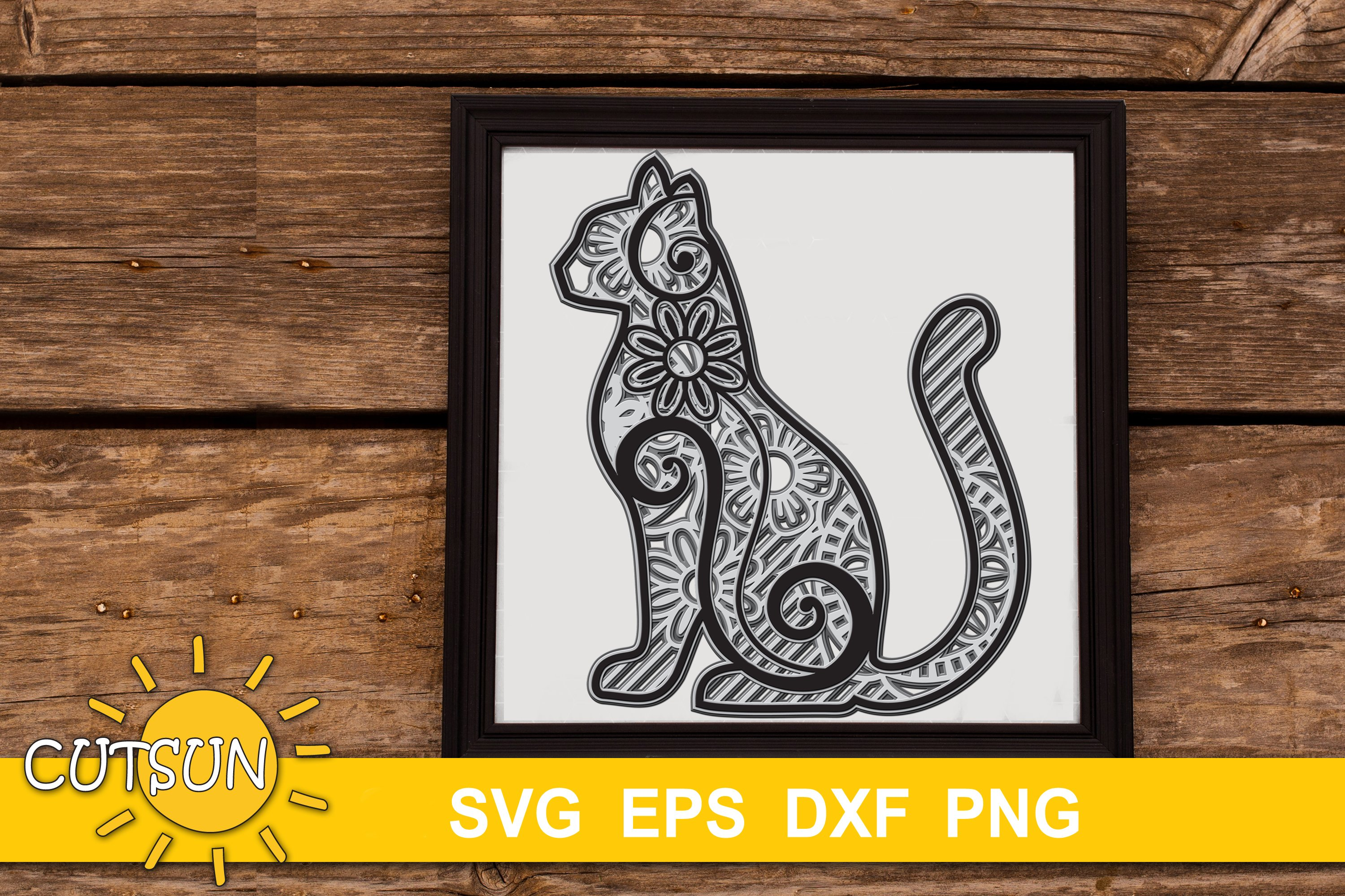 Download 3D Layered Cat Mandala SVG for crafters 5 layers | 3 ...