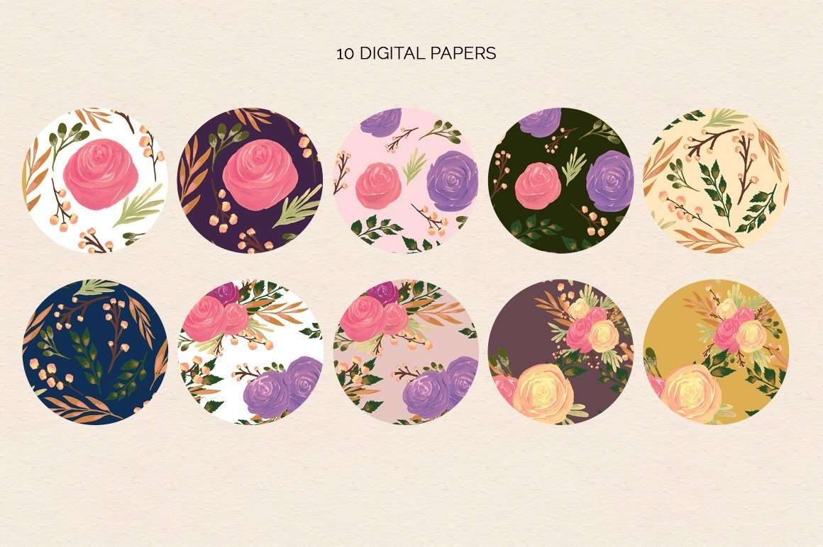 Puspita Gouache Flowers Design Set example image 4