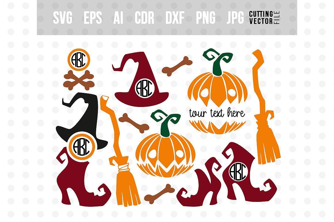 Halloween Monogram Svg Bundle Svg Eps Ai Dxf Png Jpg 142728 Svgs Design Bundles