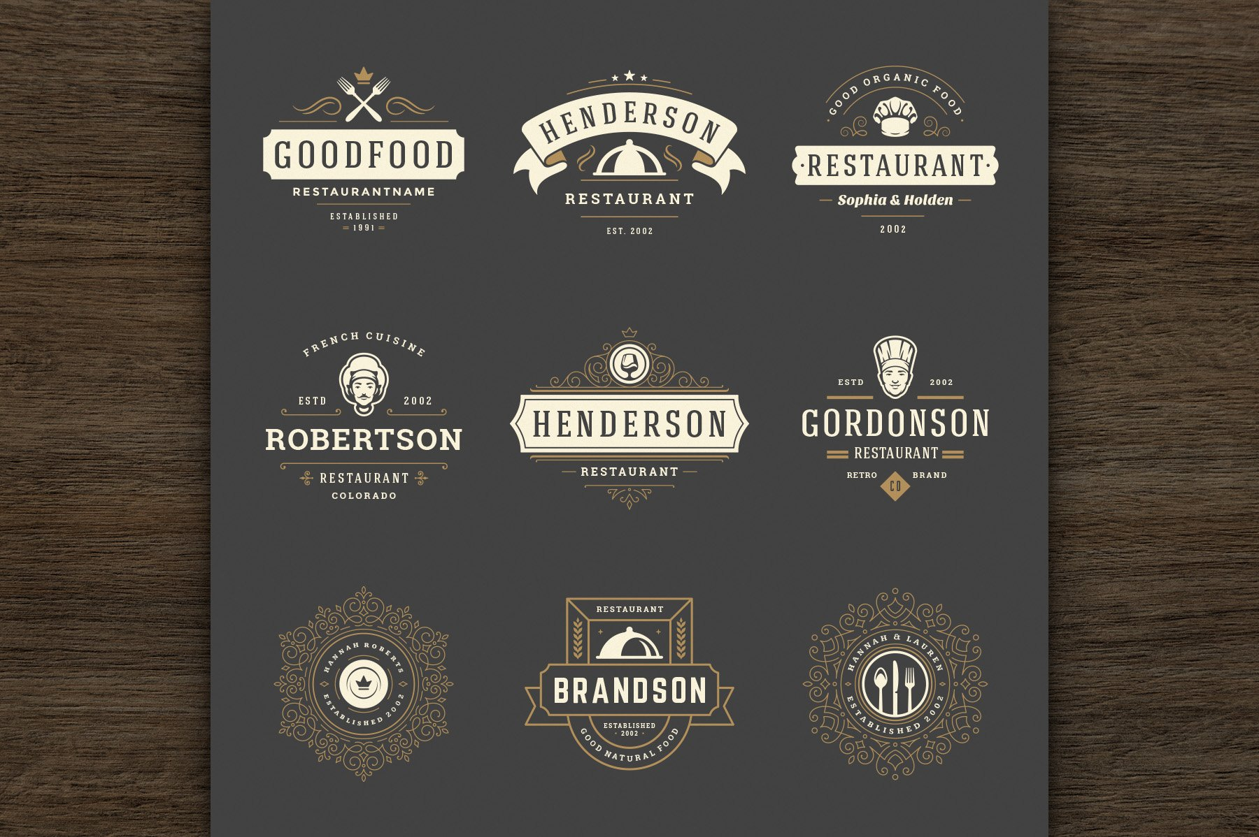 36 Restaurant Logos and Badges example image 2