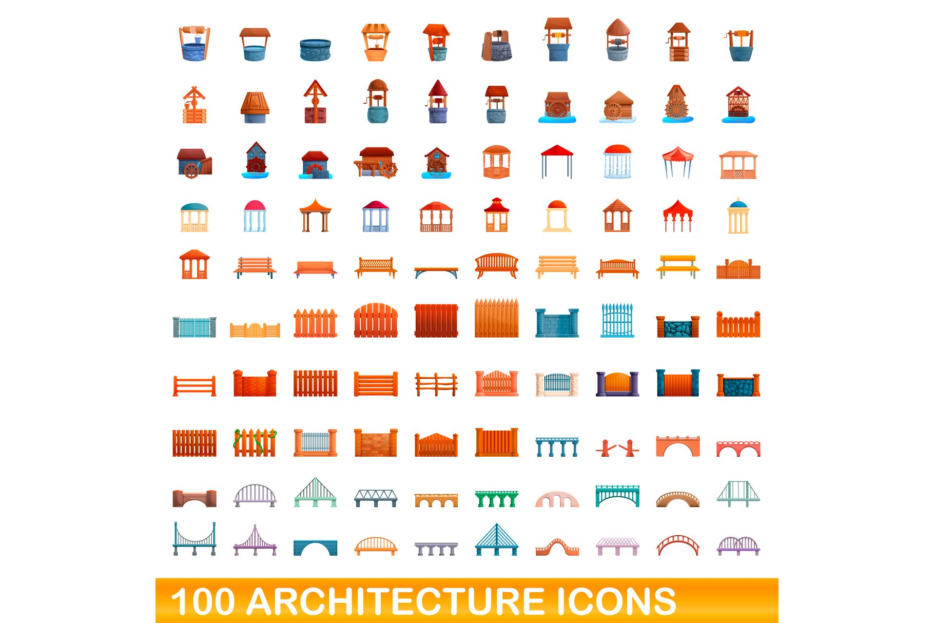 100 Architecture Icons Set Cartoon Style 568971 Illustrations Design Bundles