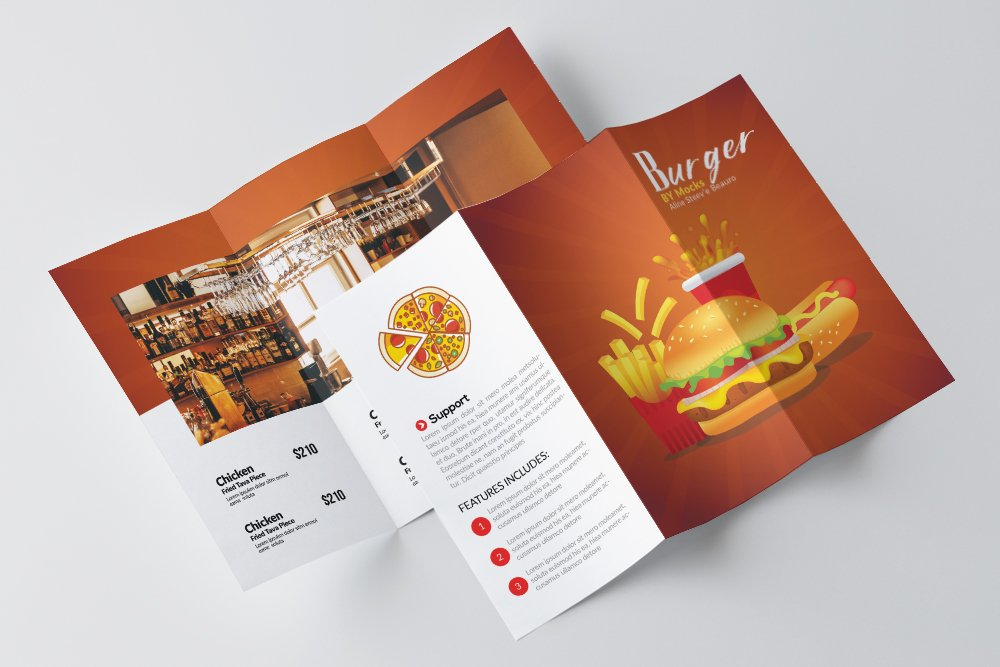 Fast Food Restaurant Trifold Brochure example image 3