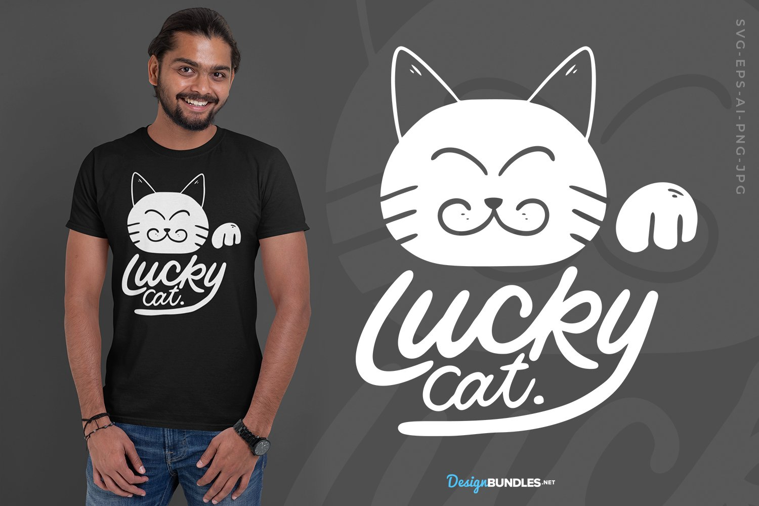 Lucky Cat T-Shirt Design, SVG example image 1