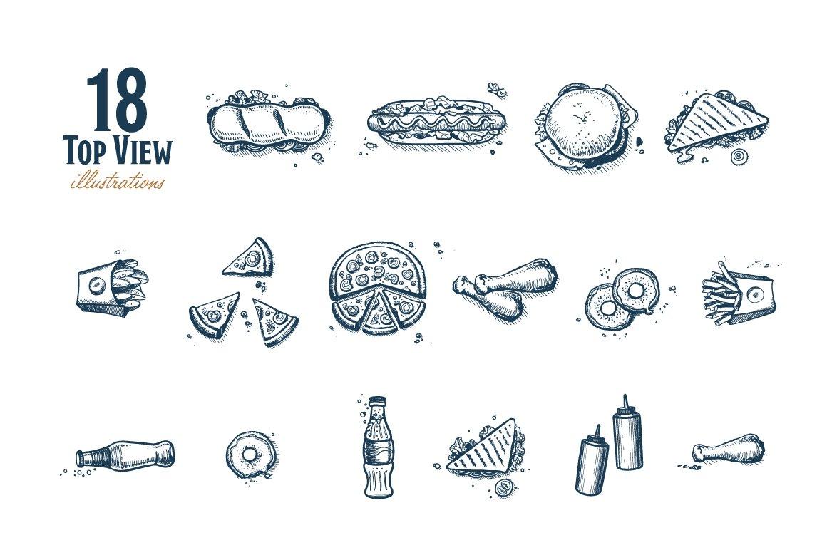 Fast Food Hand Draw Illustration Set example image 4