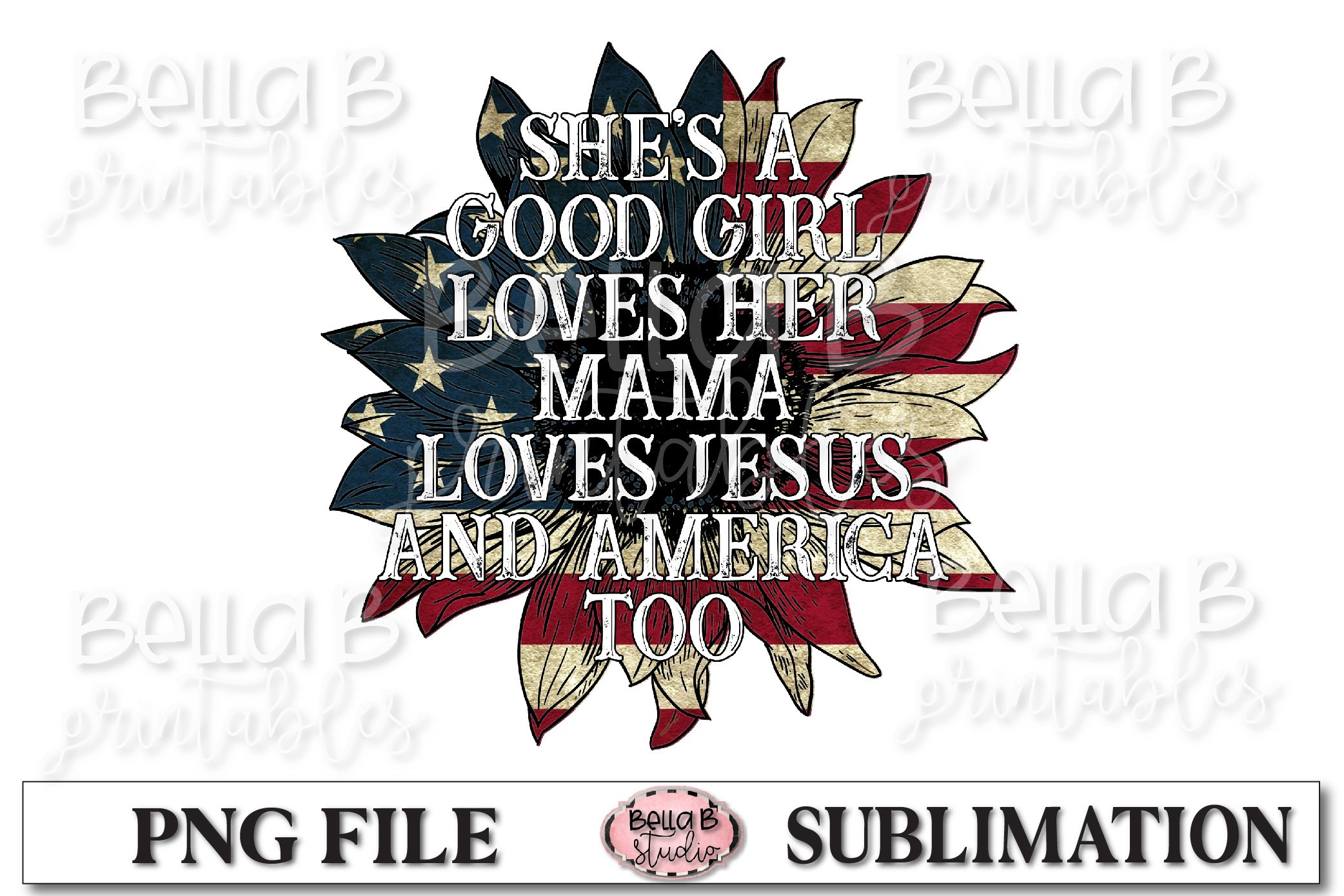 She's A Good Girl Loves Her Mama Sublimation Design example image 1