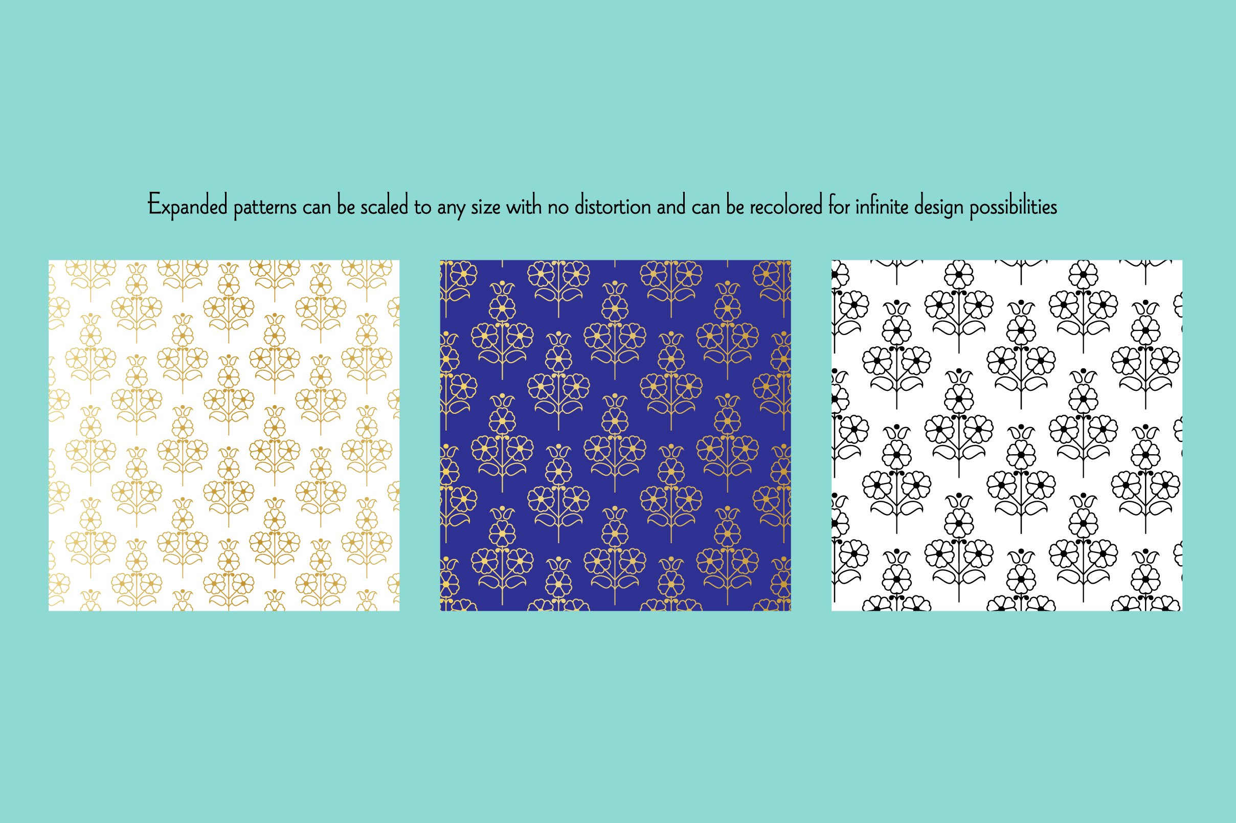 Seamless Gold Paisley Patterns example image 2