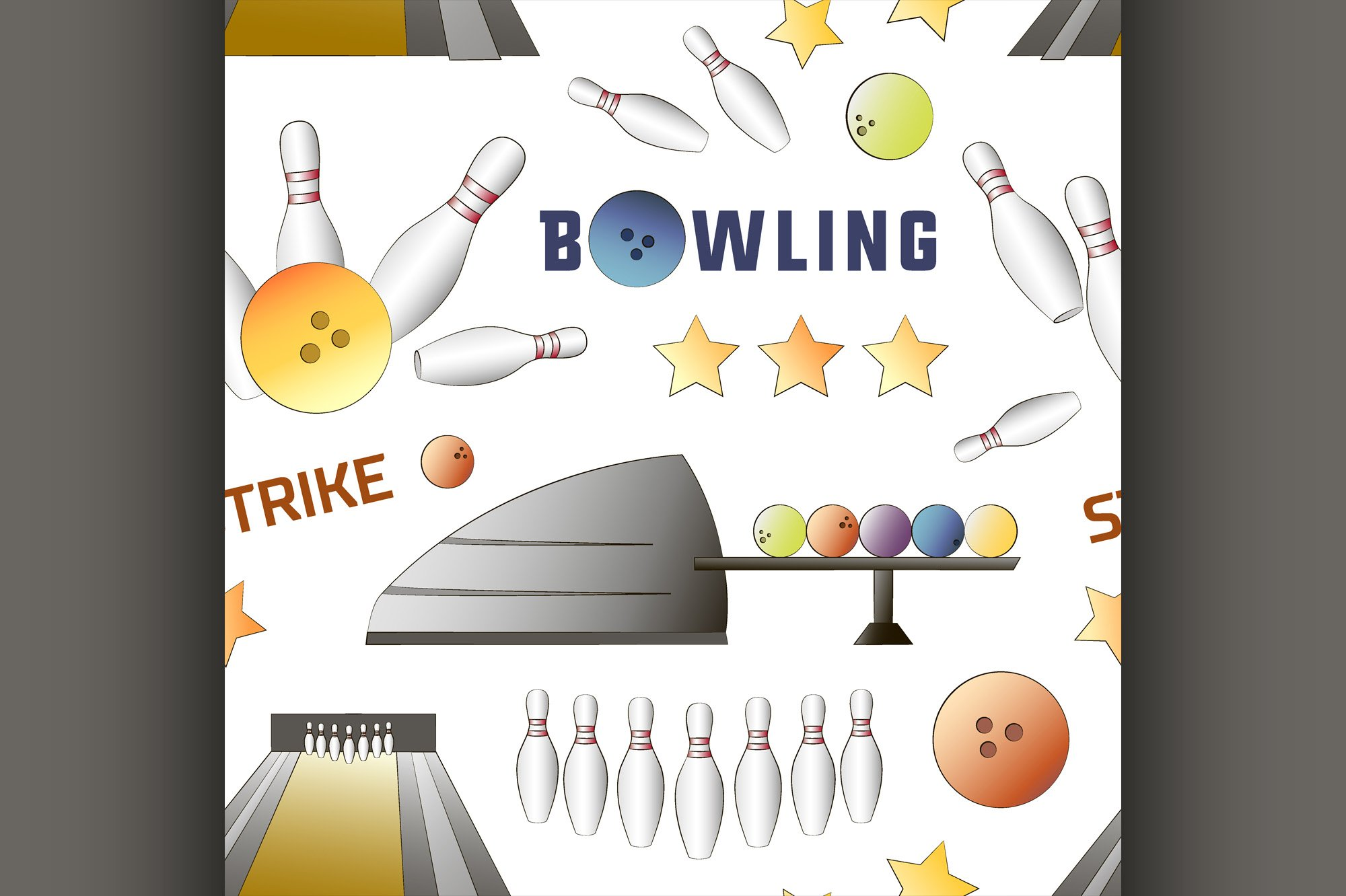 Bowling icons set pattern example image 1