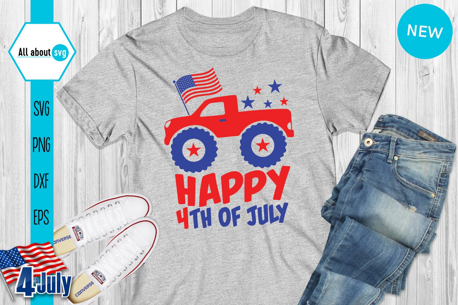 Happy 4th Of July Svg, USA Truck Svg example image 3