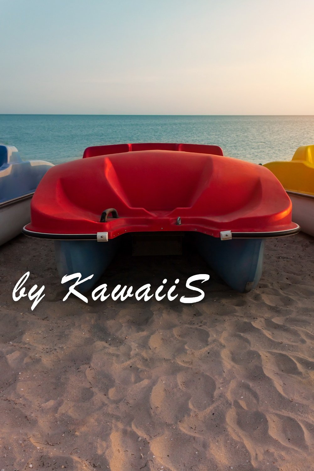 Colorful catamarans pedal boats on the sunset on a sea beach example image 6