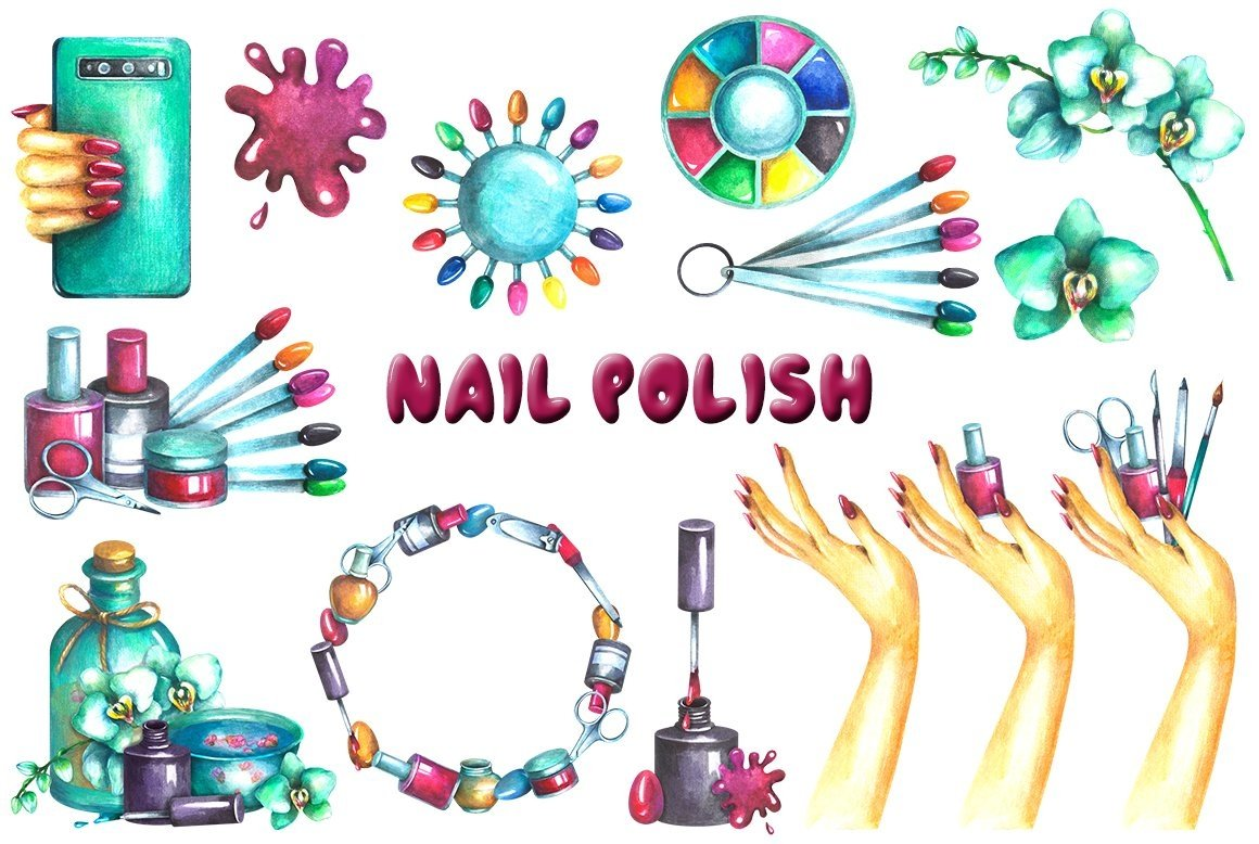 Nail Polish Watercolor clipart example image 3