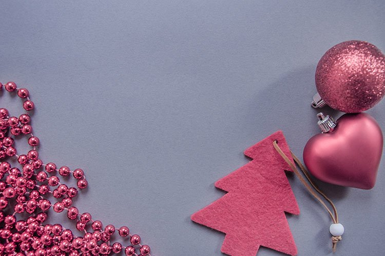 Red Christmas tree, beads, balls on a gray background. example image 1