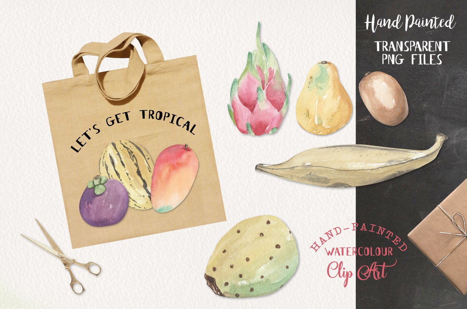 Tropical Exotic Fruit Watercolor 13 Elements Food example image 2