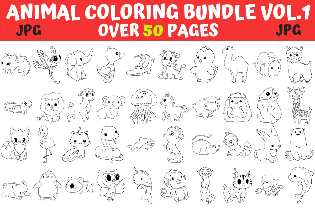 Coloring Pages - Animal Coloring Book Page Bundle Vol1 example image 1