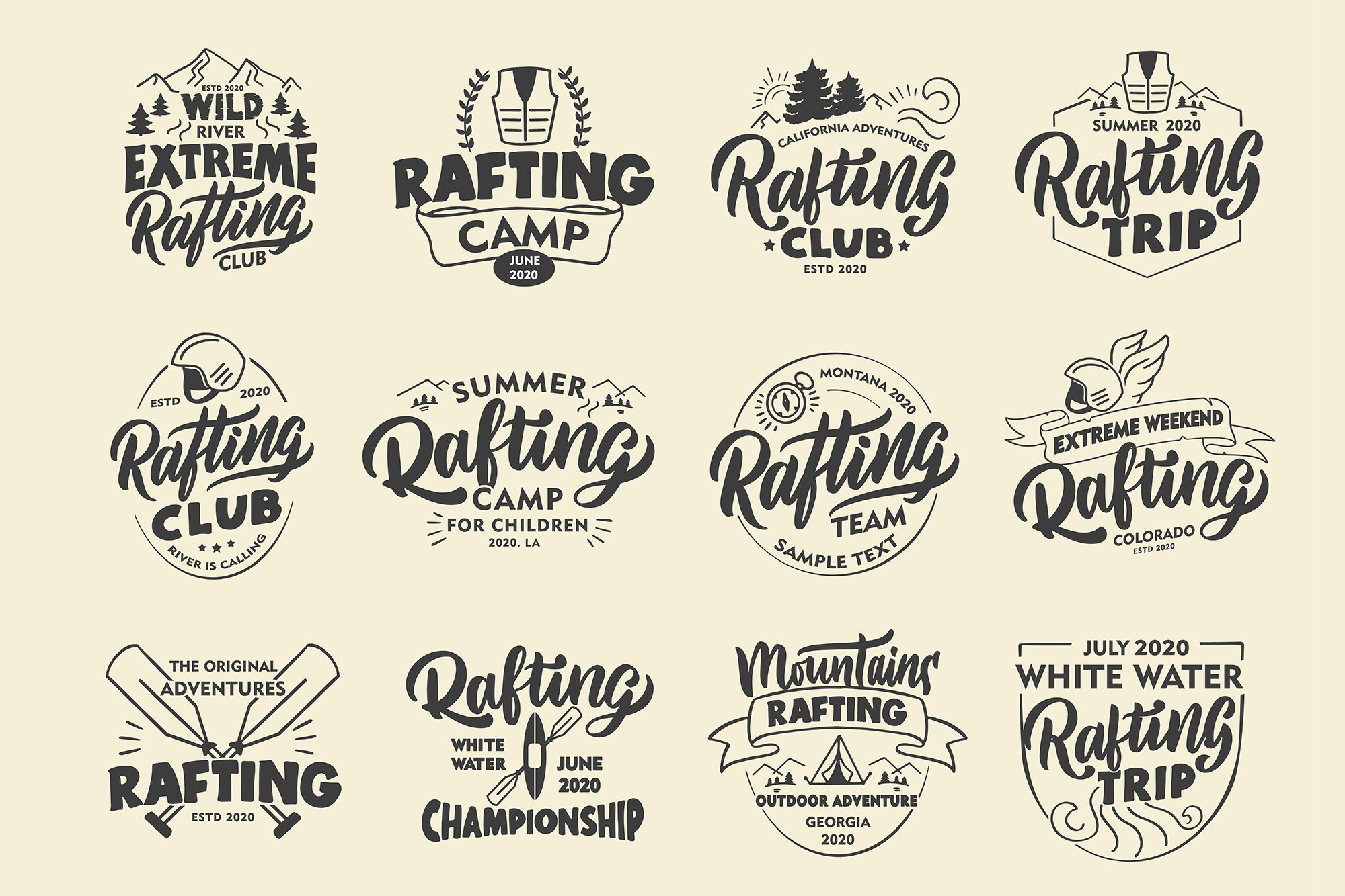 Set of Rafting logos example image 2
