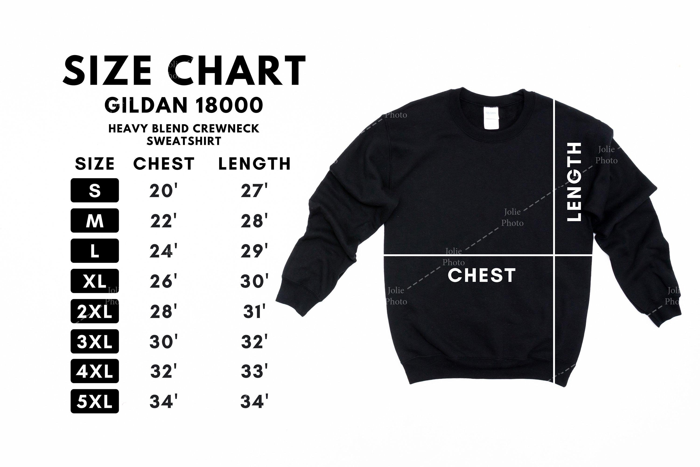 Downloadable Modern Minimal Size Guide for Printful Printify Print on Demand Gildan Size Chart Crew Neck Sweatshirt 18000 Unisex
