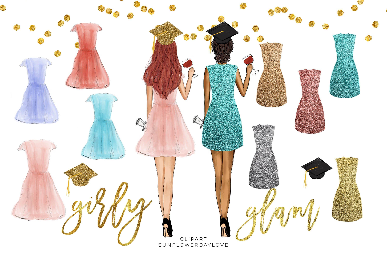 College Senior Graduation Girl Gold Fashion clipart example image 4