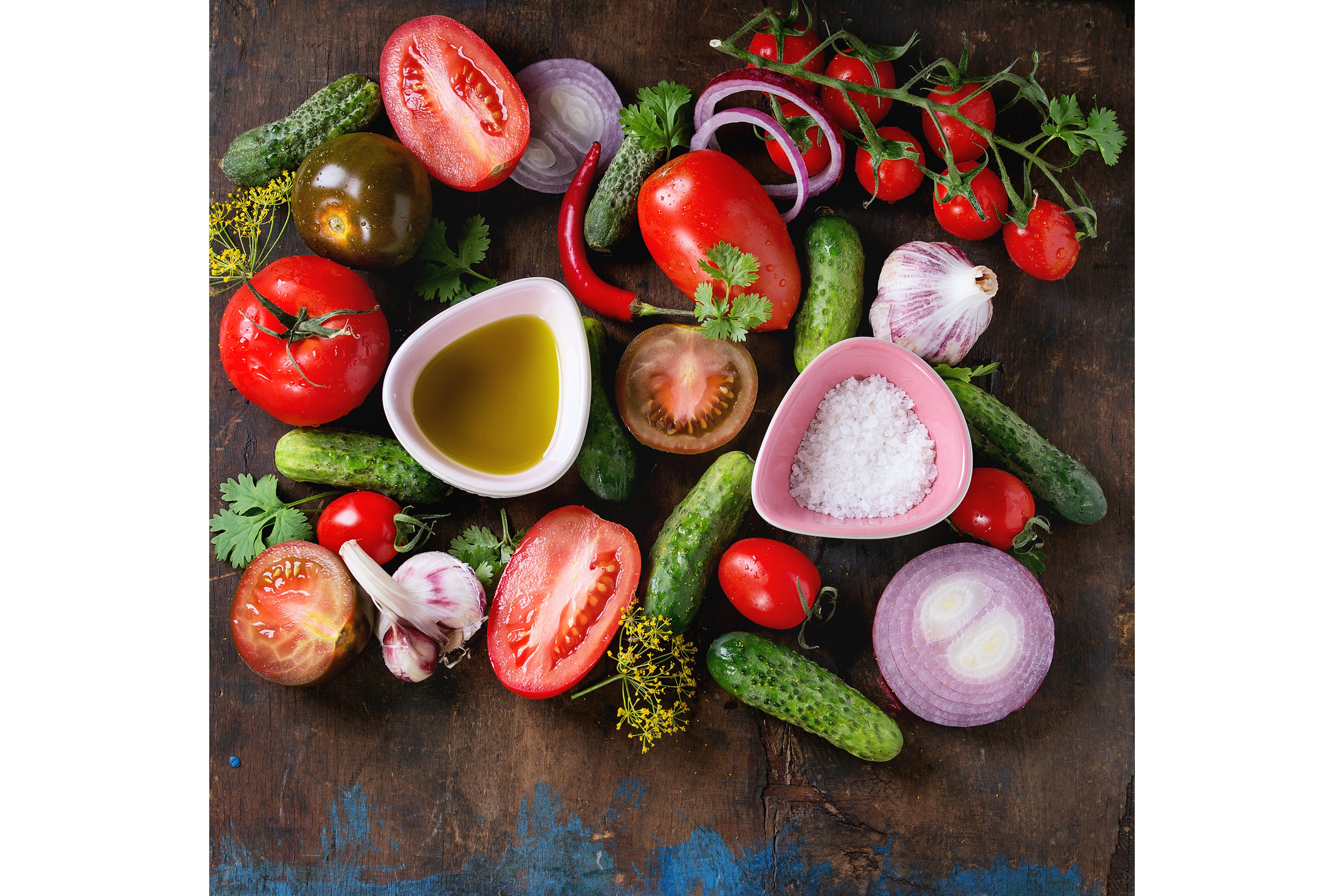 Background with tomatoes and cucumbers example image 1
