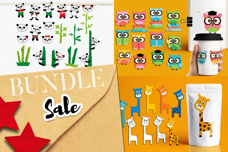 Panda Giraffe Owl clip art illustrations bundle example image 1