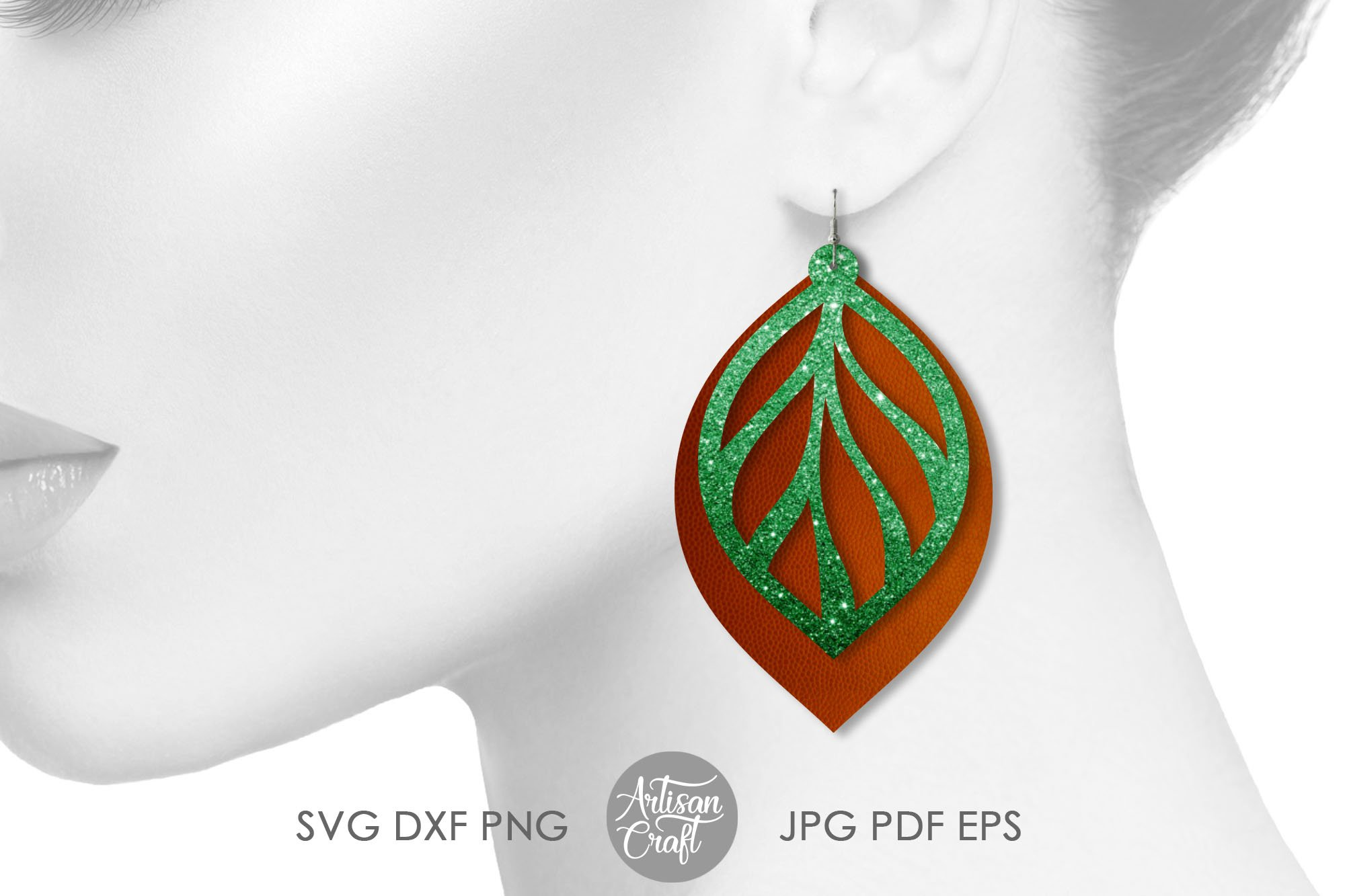 Leaf earring svg, faux leather earrings template example image 3