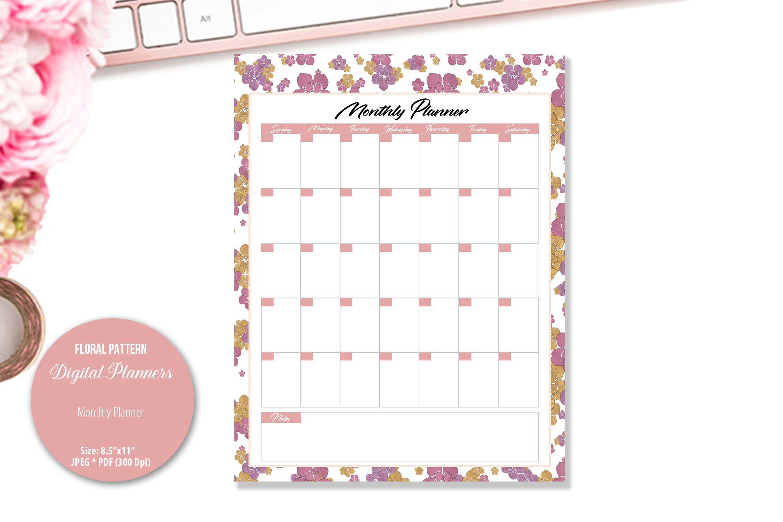 Rose Floral Pattern Digital Planner example image 4